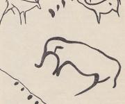 Kresba jeleňa, muflóna a slona v jaskyni Chautzenkjer Aquj.