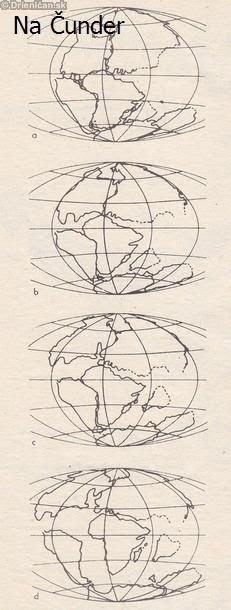 Rozpad jednotlivej prapevniny a:panagea na konci permu b:začiatok vytvárania pevnín na konci triasu c:rozdelenie pevnín v jure d:koniec obdobia kriedy